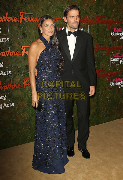 Demi Moore, James Ferragamo<br /> Wallis Annenberg Center For The Performing Arts Inaugural Gala held at Wallis Annenberg Center For The Performing Arts,  Beverly Hills, California, USA, 17th October 2013.<br /> full length navy blue sequined sequin sparkly dress halterneck bow tie tuxedo black couple <br /> CAP/ADM/KB<br /> &copy;Kevan Brooks/AdMedia/Capital Pictures