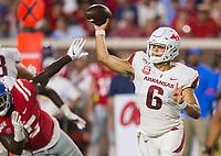 NWA Democrat-Gazette/BEN GOFF @NWABENGOFF<br /> Ben Hicks, Arkansas quarterback, throws the ball in the second quarter vs Ole Miss Saturday, Sept. 7, 2019, at Vaught-Hemingway Stadium in Oxford, Miss.