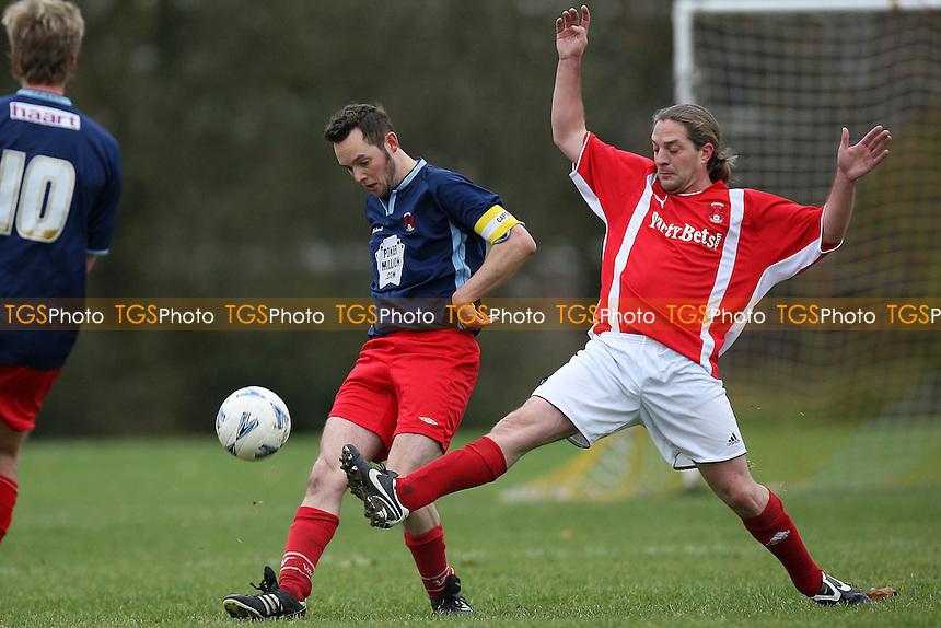 Hackney Os (red) vs Birbeck Orient (blue) - Hackney & Leyton Sunday League Football at South Marsh, Hackney Marshes - 21/11/10 - MANDATORY CREDIT: Gavin Ellis/TGSPHOTO - Self billing applies where appropriate - Tel: 0845 094 6026