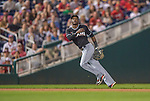 20 September 2013: Miami Marlins shortstop Adeiny Hechavarria in action against the Washington Nationals at Nationals Park in Washington, DC. The Nationals defeated the Marlins 8-0 to take the second game of their 4-game series. Mandatory Credit: Ed Wolfstein Photo *** RAW (NEF) Image File Available ***