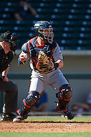 Scottsdale Scorpions catcher Mitch Garver (16) during an Arizona Fall League game against the Mesa Solar Sox on October 19, 2015 at Sloan Park in Mesa, Arizona.  Scottsdale defeated Mesa 10-6.  (Mike Janes/Four Seam Images)