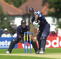 .14/07/2002 - Sport - Cricket- Norwich Union League..Middlesex Crusaders vs Gloucester Gladiators.Craig Spearman, defendin his wicket.