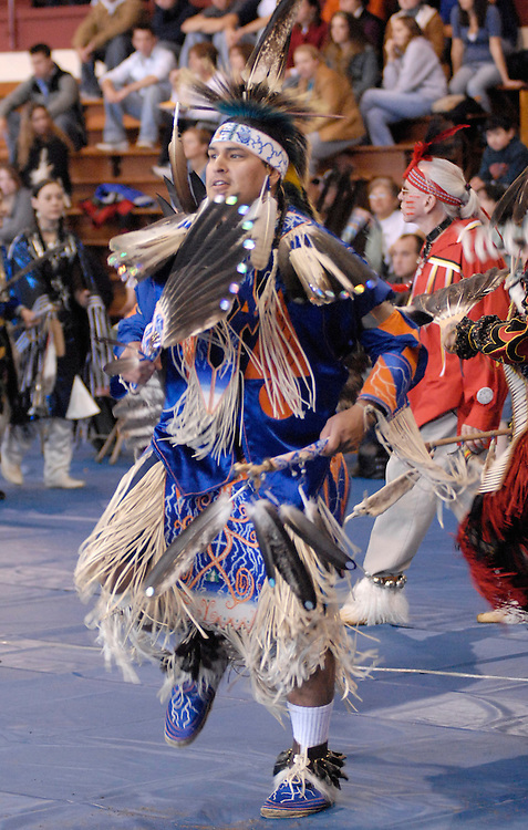 Sentinel/Dan Irving.Paul Syrette of Kalamazoo, a member of the Ojibwe tribe, performs a traditional multi-tribal dance during the pow wow Saturday afternoon at the Holland Civic Center..(10/28/06)