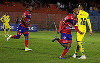 PASTO - COLOMBIA, 21-07-2018: Los jugadores de Deportivo Pasto celebran el gol de su equipo anotado a Leones F. C., durante partido entre Deportivo Pasto y Leones F. C., de la fecha 5 por la Liga Águila II 2018, jugado en el estadio Departamental Libertad de la ciudad de Pasto.  / The players of Deportivo Pasto celebrate the goal from their team to Leones F. C., during a match between Deportivo Pasto and Leones F. C., of the 5th date for the Liga Aguila I 2018 at the Departamental Libertad stadium in Pasto city. Photo: VizzorImage. / Leonardo Castro / Cont.