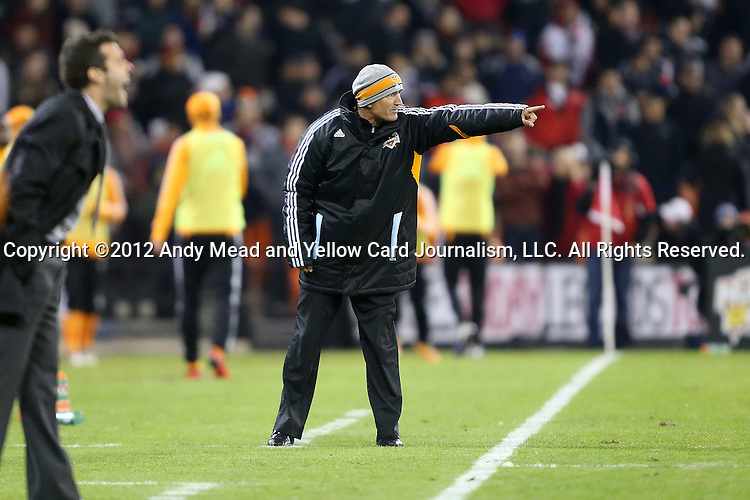 18 November 2012: Houston head coach Dominic Kinnear (SCO) during the game. DC United played the Houston Dynamo at RFK Stadium in Washington, DC in the second leg of their 2012 MLS Cup Playoffs Eastern Conference Final series. The game ended in a 1-1 tie, Houston won the series 4-2 on aggregate goals.