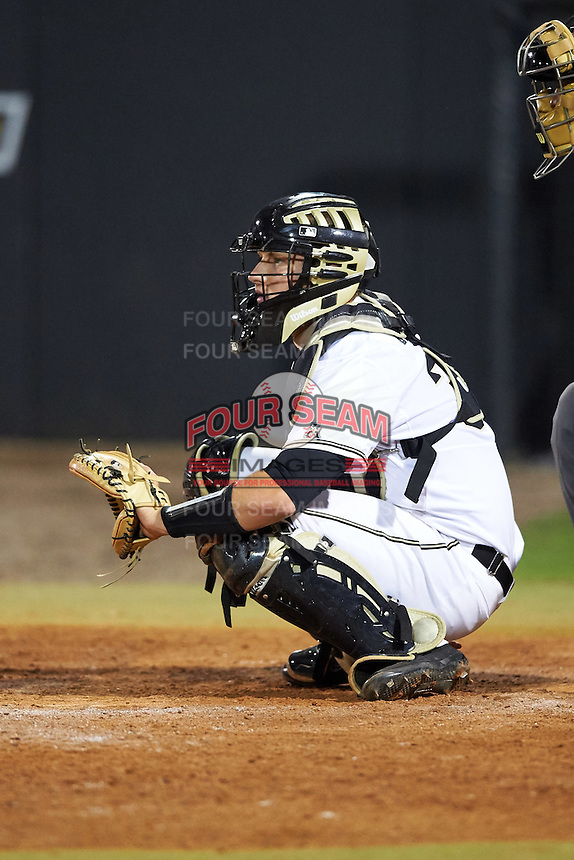 UCF Knights catcher Dallas Beaver (38) waits for a pitch during a game against the Siena Saints on February 17, 2017 at UCF Baseball Complex in Orlando, Florida.  UCF defeated Siena 17-6.  (Mike Janes/Four Seam Images)