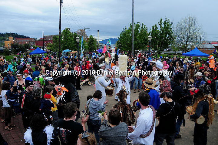 Photos from the 7th annual Procession of the Species event in downtown Bellingham Saturday May 1, 2010. The event celebrates the human connection to nature and has only three rules: no motorized vehicles, no live animals and no written or spoken words. Photo by Daniel Berman.