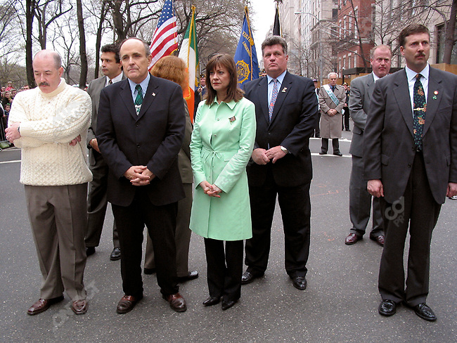Former New York Mayor Rudolph Giuliani with former Police Commissioner Bernard Kerik and Judith Nathan, St. Patrick's Day parade, New York City, New York, USA, March 2002