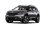 Stock pictures of low aggressive front three quarter view of 2019 Citroen C5-Aircross Shine 5 Door SUV Low Aggressive