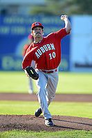 Auburn Doubledays pitcher Casey Selsor #10 warms up during a game against the Batavia Muckdogs on June 18, 2013 at Dwyer Stadium in Batavia, New York.  Batavia defeated Auburn 10-2.  (Mike Janes/Four Seam Images)
