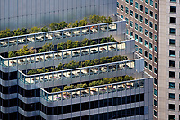 aerial photograph roof top gardens and balconies, Shaklee Terraces, One Front St, financial district, San Francisco, California,