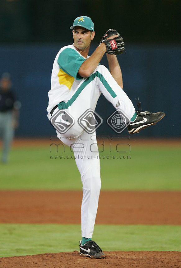 Ryan Rowland Smith (AUS) pitches the ball <br /> Baseball - Men's Final<br /> Summer Olympics - Athens, Greece 2004<br /> Day 12, 25th August 2004.<br /> &copy; Sport the library/Sandra Teddy