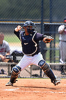 GCL Yankees 1 catcher Brian Reyes (89) throws down to second during the second game of a doubleheader against the GCL Braves on July 1, 2014 at the Yankees Minor League Complex in Tampa, Florida.  GCL Braves defeated the GCL Yankees 1 by a score of 3-1.  (Mike Janes/Four Seam Images)