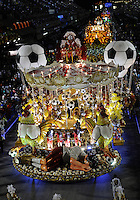 Float of Imperatriz Leopoldinense samba school during parade at the Sambadrome, Rio de Janeiro, Brazil, March 3, 2014.  (Austral Foto/Renzo Gostoli)