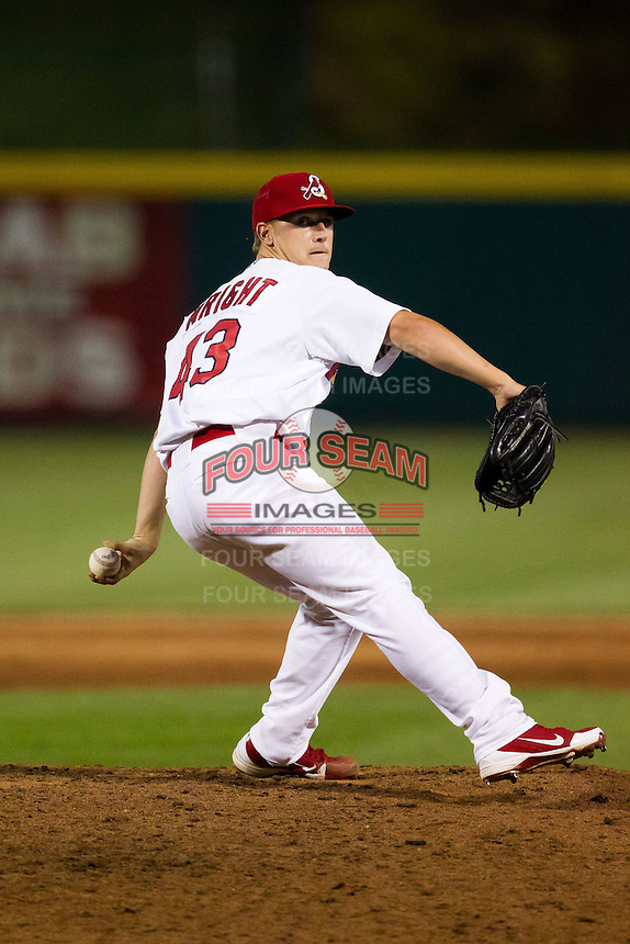 Justin Wright (43) of the Springfield Cardinals delivers a pitch during a game against the Arkansas Travelers at Hammons Field on June 13, 2012 in Springfield, Missouri. (David Welker/Four Seam Images)