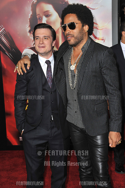 Josh Hutcherson &amp; Lenny Kravitz (right) at the US premiere of their movie &quot;The Hunger Games: Catching Fire&quot; at the Nokia Theatre LA Live.<br /> November 18, 2013  Los Angeles, CA<br /> Picture: Paul Smith / Featureflash