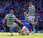 12.05.2019 Rangers v Celtic: Scott Arfield has his eyes on Scott Brown as he goes in for the ball