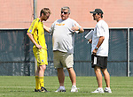 17 June 2007: Columbus head coach Sigi Schmid (center) talks with Eddie Gaven (l) as assistant coach Robert Warzycha (r) watches. The New England Revolution Reserves defeated the Columbus Crew Reserves 2-1 on the Gillette Stadium practice field in Foxboro, Massachusetts in a Major League Soccer Reserve Division game.