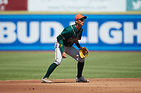 Greensboro Grasshoppers shortstop Ji-Hwan Bae (51) on defense against the Hickory Crawdads at L.P. Frans Stadium on May 26, 2019 in Hickory, North Carolina. The Crawdads defeated the Grasshoppers 10-8. (Brian Westerholt/Four Seam Images)