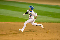 Rancho Cucamonga Quakes center fielder Jeren Kendall (3) rounds first base at LoanMart Field on April 12, 2018 in Rancho Cucamonga, California. The 66ers defeated the Quakes 5-4.  (Donn Parris/Four Seam Images)