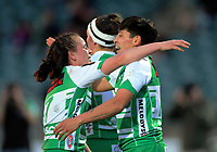 Crystal Mayes celebrates her try during the Farah Palmer Cup women's rugby match between Manawatu Cyclones and Wellington Pride at CET Stadium in Palmerston North, New Zealand on Saturday, 12 October 2019. Photo: Dave Lintott / lintottphoto.co.nz