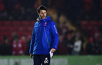 Lincoln City manager Danny Cowley during the pre-match warm-up<br /> <br /> Photographer Chris Vaughan/CameraSport<br /> <br /> The EFL Sky Bet League Two - Lincoln City v Cheltenham Town - Tuesday 13th February 2018 - Sincil Bank - Lincoln<br /> <br /> World Copyright &copy; 2018 CameraSport. All rights reserved. 43 Linden Ave. Countesthorpe. Leicester. England. LE8 5PG - Tel: +44 (0) 116 277 4147 - admin@camerasport.com - www.camerasport.com