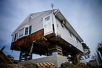 A house is seen under reconstructition while NJ's governor Chris Christie visited the Jersey shore's reconstruction, marking the second anniversary of Sandy storm in New Jersey. 10.29.2014. Eduardo MunozAlvarez/VIEWpress
