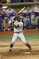 Texas A&M Aggies infielder Logan Taylor (17) at bat during a Southeastern Conference baseball game against the LSU Tigers on April 23, 2015 at Alex Box Stadium in Baton Rouge, Louisiana. LSU defeated Texas A&M 4-3. (Andrew Woolley/Four Seam Images)