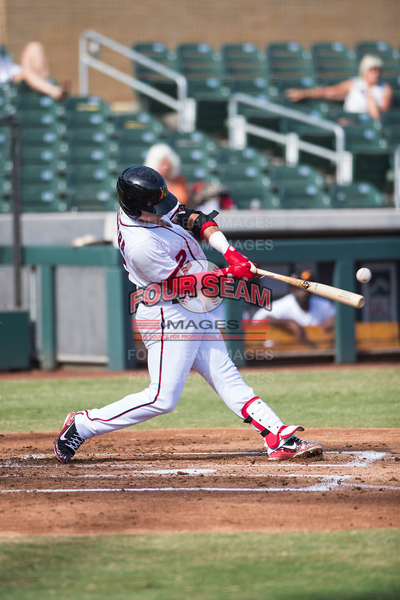Salt River Rafters catcher Tres Barrera (12), of the Washington Nationals organization, breaks his bat during an Arizona Fall League game against the Glendale Desert Dogs at Salt River Fields at Talking Stick on October 31, 2018 in Scottsdale, Arizona. Glendale defeated Salt River 12-6 in extra innings. (Zachary Lucy/Four Seam Images)