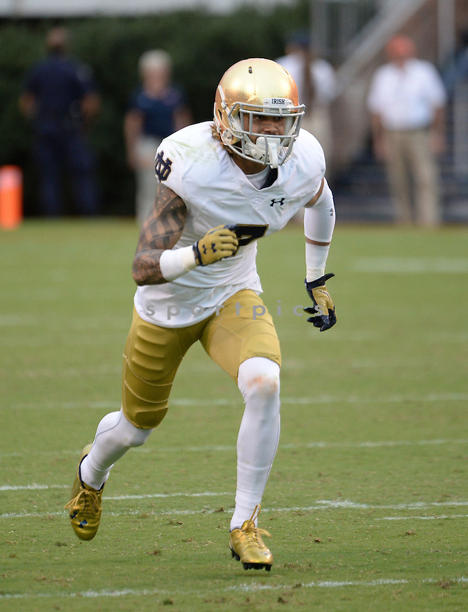 Notre Dame Fighting Irish Will Fuller (7) during a game against the Virginia Cavaliers on September 12, 2015 at Scott Stadium in Charlottesville, VA. Notre Dame beat Virginia 34-27.