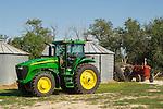 2005 John Deere 7720 tractor, Butler grain tanks; 1950s McCormick Regular W6 Super tractor