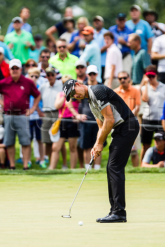 August 30, 2015: Henrik Stenson putting for birdie on the 5th green during the final round of The Barclays at Plainfield Country Club in Edison, NJ.