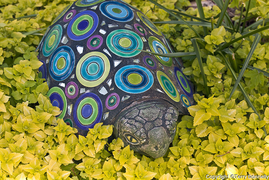 Vashon Island, WA<br /> Garden of tile tile artist Clare Dohna featuring moasic tile installations