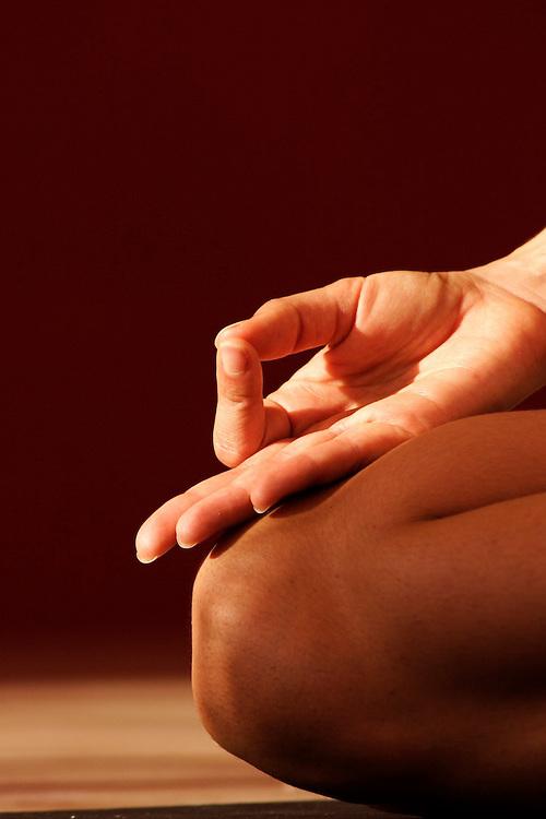 Misore (ashtanga) practice with David Keil in Red Pearl Yoga, Fort Lauderdale, FL. Mudra during meditation.