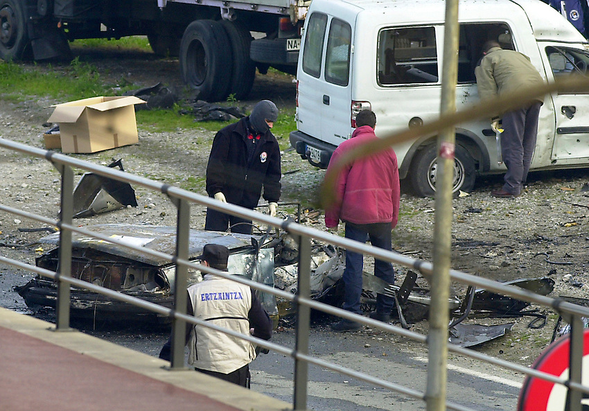 The scene of a car bombing in Donostia / San Sebastian on 22nd February 2001 in wich two men were killed and four,including a Socialist Party Councillor, were wounded.<br /> Photo: Ander Gillenea.