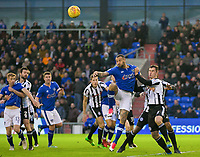 Oldham Athletic's Craig Davies under pressure from Rochdale's Harrison McGahey during the Sky Bet League 1 match between Oldham Athletic and Rochdale at Boundary Park, Oldham, England on 18 November 2017. Photo by Juel Miah/PRiME Media Images