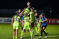 Kansas City, MO - Saturday June 17, 2017: Shea Groom, Rebekah Stott, Lindsay Elston during a regular season National Women's Soccer League (NWSL) match between FC Kansas City and the Seattle Reign FC at Children's Mercy Victory Field.