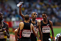 08 JUL 2011 - PARIS, FRA - Amine Laalou celebrates winning the men's 1500m at the Meeting Areva round of the Samsung Diamond League (PHOTO (C) NIGEL FARROW)