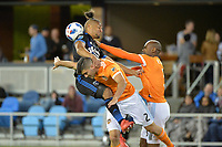 San Jose, CA - Saturday April 14, 2018: Quincy Amarikwa, Alejandro Fuenmayor during a Major League Soccer (MLS) match between the San Jose Earthquakes and the Houston Dynamo at Avaya Stadium.