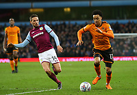 Helder Costa of Wolverhampton Wanderers takes on Conor Hourihane of Aston Villa<br /> <br /> Photographer Leila Coker/CameraSport<br /> <br /> The EFL Sky Bet Championship - Aston Villa v Wolverhampton Wanderers - Saturday 10th March 2018 - Villa Park - Birmingham<br /> <br /> World Copyright &copy; 2018 CameraSport. All rights reserved. 43 Linden Ave. Countesthorpe. Leicester. England. LE8 5PG - Tel: +44 (0) 116 277 4147 - admin@camerasport.com - www.camerasport.com