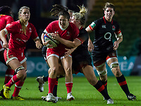 Jess Neilson gets caught in possession by Marlie Packer, England Women v Canada in an Autumn International match at The Stoop, Twickenham, London, England, on 21st November 2017 Final score 49-12