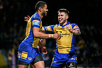Picture by Alex Whitehead/SWpix.com - 17/03/2017 - Rugby League - Betfred Super League - Leeds Rhinos v Wakefield Trinity - Headingley Carnegie Stadium, Leeds, England - Leeds' Kallum Watkins (L) celebrates his try with Tom Briscoe (R).