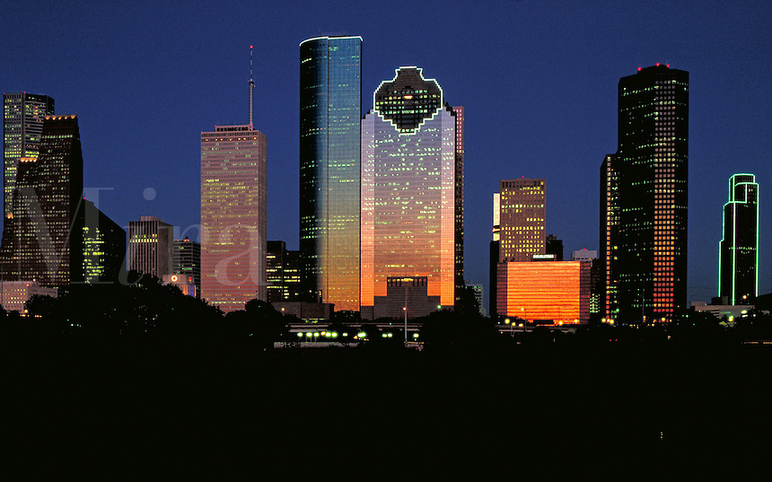 Houston Skyline at Dusk. Houston Texas USA.
