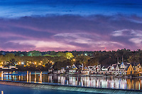 Schuylkill Navy, River, Reflections, Sunset, Houses Lit,  Boat House, Row, Philadelphia, PA,