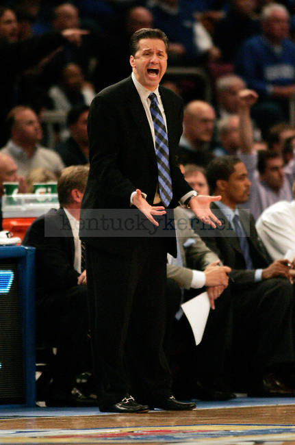 UK head coach John Calipari yells at his team in the second half of UK's 64-61 win over UCONN at Madison Square Gardens in New York, NY. Photo by Britney McIntosh | Staff