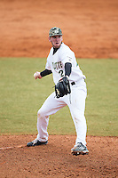 Charlotte 49ers relief pitcher Trevor Gay (27) in action against the Akron Zips at Hayes Stadium on February 22, 2015 in Charlotte, North Carolina.  The Zips defeated the 49ers 5-4.  (Brian Westerholt/Four Seam Images)