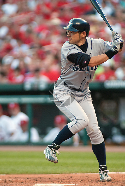 June 14, 2010          Seattle Mariners right fielder Ichiro Suzuki (51) winds up during an at-bat.  The St. Louis Cardinals defeated the Seattle Mariners 9-3 in the first game of a three-game homestand at Busch Stadium in downtown St. Louis, MO on Monday June 14, 2010.