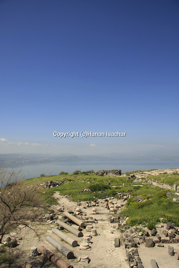 Mount Susita, Golan Heights. Ruins of Hippos, the site of a Greco-Roman city.