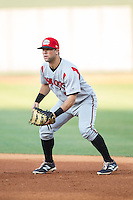 Carolina Mudcats first baseman Joe Sever (7) on defense against the Winston-Salem Dash at BB&T Ballpark on June 6, 2014 in Winston-Salem, North Carolina.  The Mudcats defeated the Dash 3-1.  (Brian Westerholt/Four Seam Images)