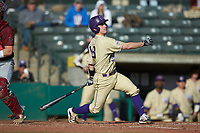 Daniel Walsh (19) of the Western Carolina Catamounts follows through on his swing against the Saint Joseph's Hawks at TicketReturn.com Field at Pelicans Ballpark on February 23, 2020 in Myrtle Beach, South Carolina. The Hawks defeated the Catamounts 9-2. (Brian Westerholt/Four Seam Images)